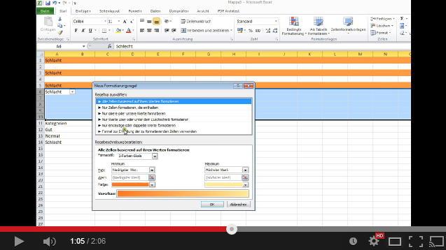 Tutorial Video zu Excel 2010: Zeilen farbig markieren bei Zelleninhalt